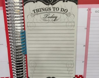 Black & White Things to Do Today (D28)_Double-sided laminated bookmark/dashboard for Erin Condren planner