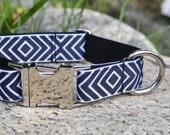 Timothy. Dog Collar, Black, White, Retro, Girl, Boy, Unisex, Martingale Collar, Handmade Collar