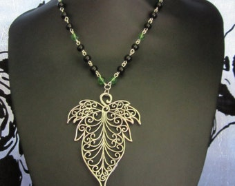 Big Leaf beaded necklace, forest, nature, pixie