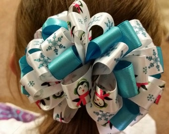 Adorable penguin and snowflake loopy bow