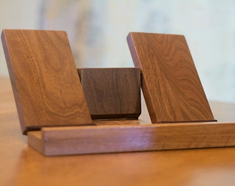 Wooden Recipe Book Holder and Recipe Book Stand in Walnut Wood