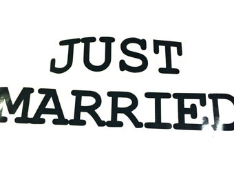 Just Married Vinyl Decal Just Married Sign Vinyl Decal for the Car, Wedding Decal for Vehicle