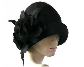 Downton hats felt hat cloche Hat black felted hat felt hats Cloche Hat 1920 Hat Art  Black Hat Cloche Victorian 1920's Women's hat