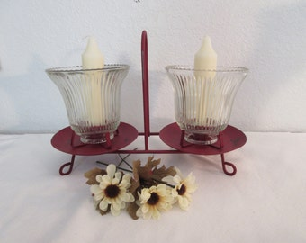 Vintage Distressed Red Metal Candle Holder with Globes
