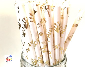 Gold Crown Straws, Gold Crown Paper Straws, Crown Party Straws, Gold Straws, Princess Party, Girl Party, Party Straws, Princess Theme, 10