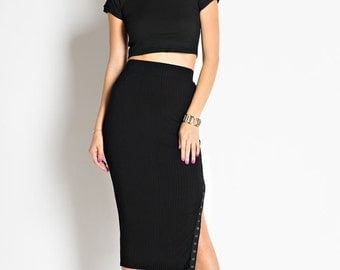 S1004A Calf Length Rib Skirt with side detail