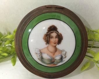 Antique 19c Gilt Bronze Porcelain Miniature Portrait Jewelry Trinket Box