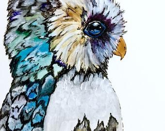 Owl Original Acrylic Painting, Cute Owl Artwork, New Orleans Artist, Bird Art, Bird Decor, Owl, Winter Bird Owl, Owls Wall Decor