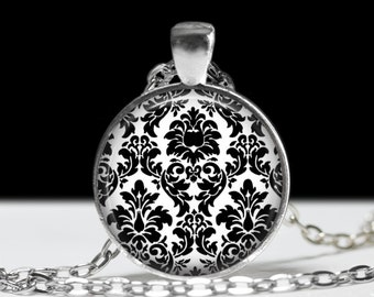 "Vintage Victorian Damask Necklace-Black and White Damask print-Elegant, Bridal, Gothic, Rockabilly-1"" Silver and Glass Pendant"