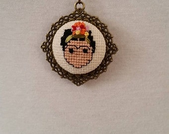 Frida Kahlo Cross stitch necklace, Frida Kahlo necklace, pendant, jewelry, cross stitch necklace, embroidered necklace, Valentine's Day,