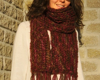 Hand Knitted /Extra/ Long/ Chunky /Scarf/ with fringes/ Burgundy/
