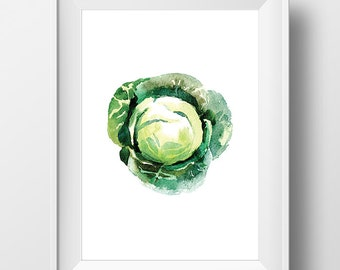 Watercolor Cabbage Print, Cabbage Art, Kitchen Art, Cabbage Wall Art, Food Print, Vegetable Print, Kitchen Poster, Kitchen Print, Food Art