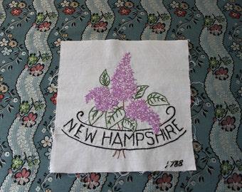 Vintage New Hampshire State Flower Quilt Block, L20