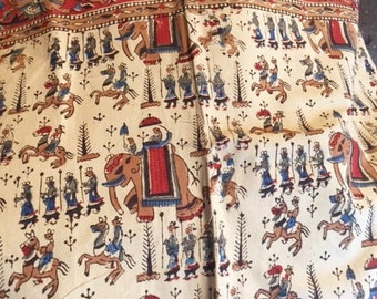 Indian block print bedspread sheet with elephants and soldiers