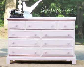 Pink Dresser with Off White Detail