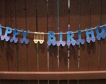 Train Party Birthday Banner