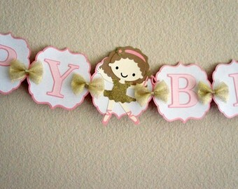 Ballerina Pink and Gold Birthday Banner