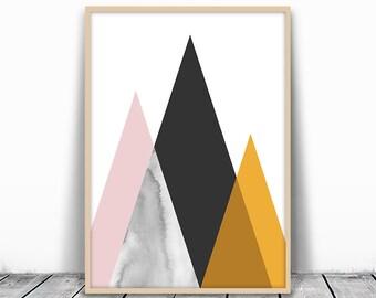 Mid Century Art Print, Midcentury modern Art, Mid Century Print, Mid Century Modern, Modern Mountain, Copper Print, Geometric Print, digital