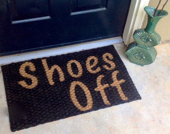 shoes off doormat just listed personalized by craftycollegegrad. Black Bedroom Furniture Sets. Home Design Ideas