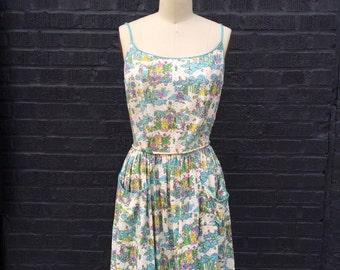 Magic Kingdom Fairy Tale Novelty Print Dress 1960s