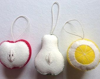 Set of 3 Handmade Felt Sliced Fruit Ornaments