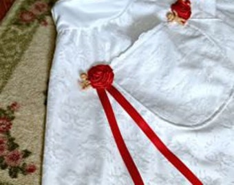 Deluxe Bridal Apron with Hand-Rolled Rosettes and Fertility Babies - Dollar/Money Dance - Polish Bridal Apron - Wedding Apron