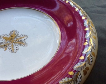 Wedgwood Pearl Footed Bowl-Oak Leaf Pattern and Stunning!! Very Rare Pattern from the 1800's!