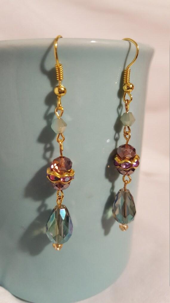 Elegant gold crystal drop earrings free shipping jade amethystcolored
