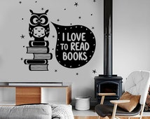 Wall Vinyl Decal Quote I love Read Books Owl Cute Romantic Bedroom Decor 1393dz