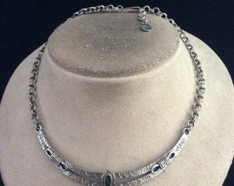 Vintage Green Enameled Pendant Necklace