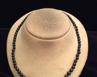 Vintage Graduated Black Beaded Necklace