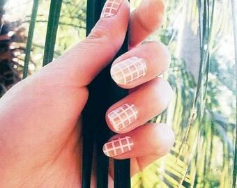 Transparent Grid Nail Polish Wraps