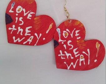 Heart Shape Love Is the Way Dangles