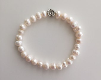 Beaded Bracelet, Stretchy, Fresh Water Pearl Beads