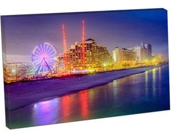 FO2398 Print On Canvas Daytona Beach Florida USA beachfront resorts skyline