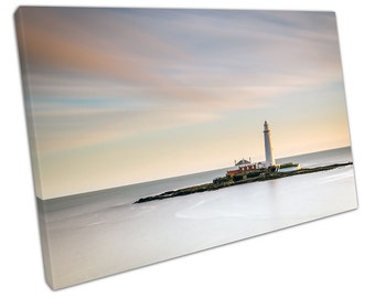 Long Exposure at St Mary's LIGHTHOUSE Canvas WALL ART C2485