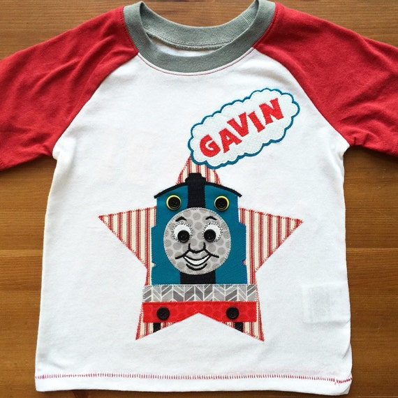 Thomas the Tank Engine inspired, Train Name tee with All Aboard back design, Birthday Tee
