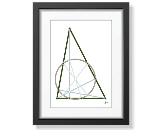 Nine point circle 06 [mathematical abstract art print, unframed] A4/A3 sizes