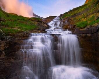 Moment of Zen, waterfalls, glacier national park, montana, wall art, nature, photo, waterfall, mountains, sunset