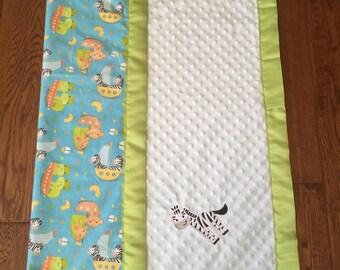 Lime Green & Blue Zebra Minky Baby Blanket