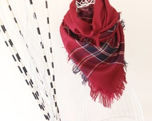 Red/Burgundy Blanket Scarf Shawl Fall/Winter accesorries, Zara blanket scarf, tartan scarf, plaid oversize scarf, gift for women