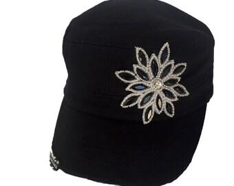 Rhinestone Hat, Embellishment Hats, Black Caps, Embellishment Caps, Military Hats, Bling Hats, Bling Caps, Black Hats, Rhinestone Flower