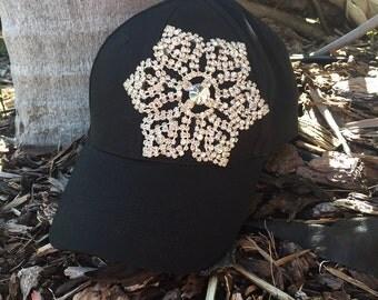 Black Hats, Rhinestone Hat, Rhinestone Caps, Cotton Hats, Bling Hats, Bling Caps, Black Rhinestone Hats