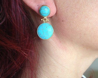 Earring, Gemstone Earring, Turquoise Earring, Double Stone Earring, Gold Filled Earring, Handmade Earring, Gift  for  Her,