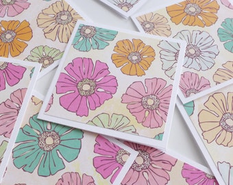 Floral Mini Cards with Envelope, Handmade Note Cards, Square Cards, Love Note, Gift Card, Blank Cards, 3x3 Cards