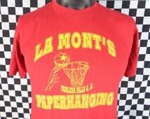 Vintage Shirt / 80s Basketball Tshirt / Fairless Hills Pennsylvania / Large Vintage Shirt / Paperhanging / 50/50 Jerzees / Hoops / La Mont's