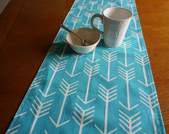 "Bright Aqua Arrows Table Runner - Premier Print Arrow Tribal Print, 70"", Turquoise Arrow Runner"