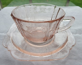 Vintage Pink Federal Madrid Pattern Pink Recollections  2 teacups and 2 saucers