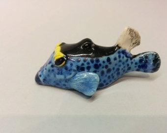 BoxFish Pendant - Puffer Fish Pendant - Puffer Fish Necklace - Ocean Jewelry - Ceramic Fish - Tropical Fish - Ocean Jewelry - Animal Pendant