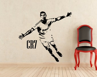 """Cristiano Ronaldo Wall Vinyl Decal Biggest REAL SIZE 27x22"""" Real Madrid CR7 Sticker Home Interior Murals Art Decoration (405n)"""